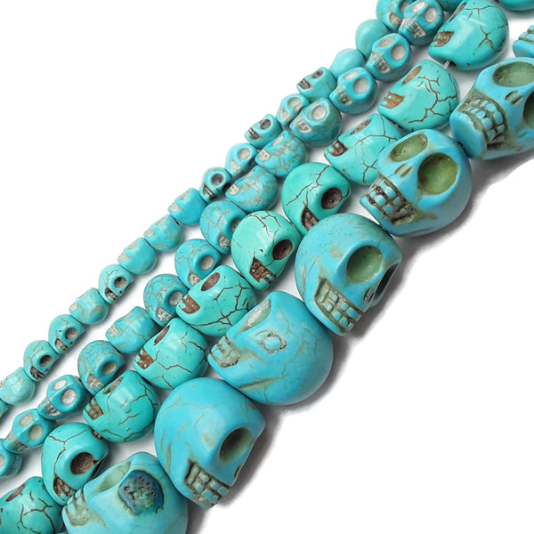 "Blue Howlite Turquoise Skull Beads 6x8mm 8x10mm 10x12mm 11x14mm 18x20mm 15.5"" Strand"