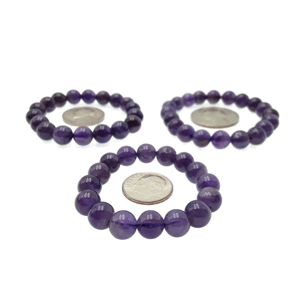 amethyst small childrens bracelet smooth round beads