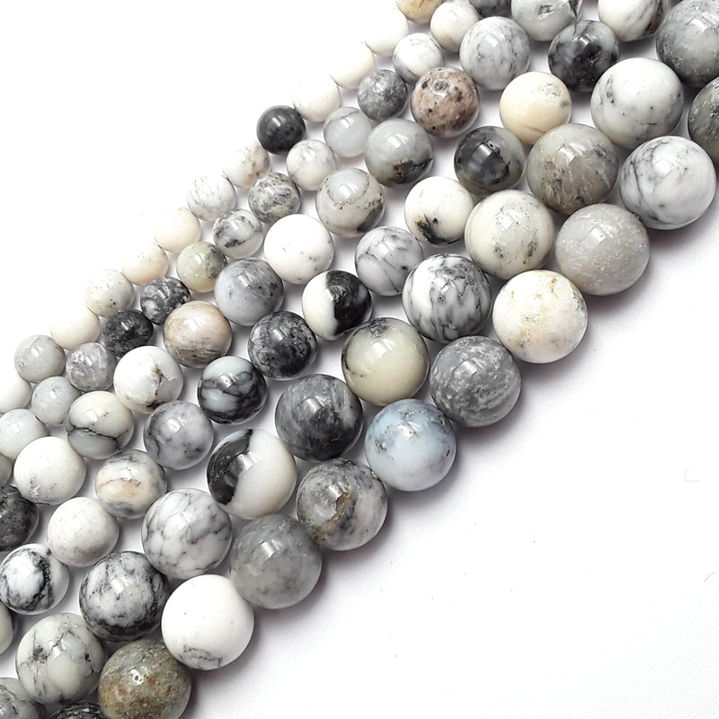 dendritic agate smooth round beads