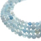 natural blue aquamarine faceted round beads