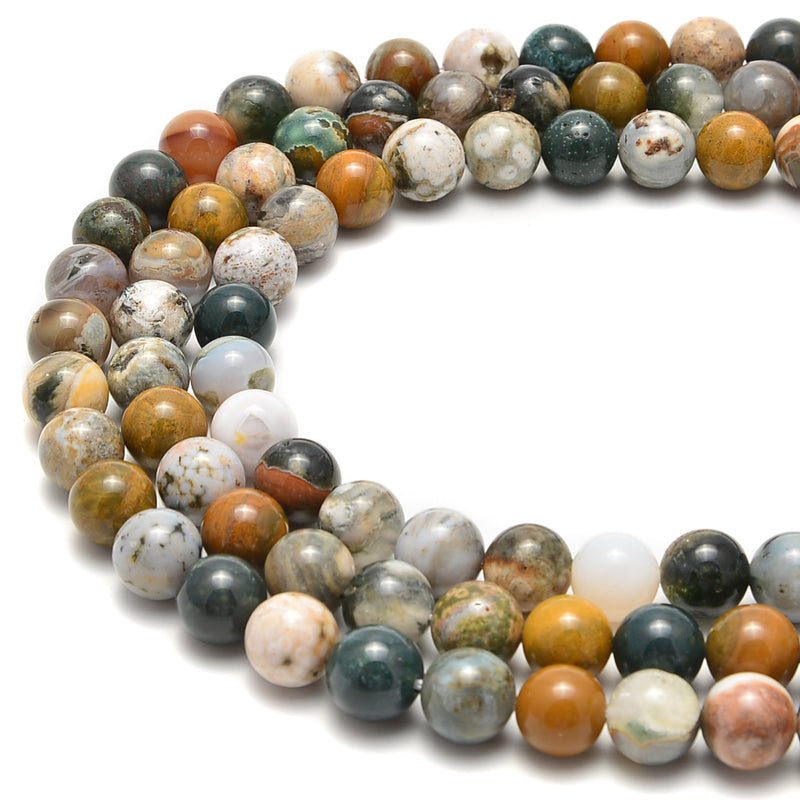 "Natural Ocean Jasper Smooth Round Beads Size 4mm 6mm 8mm 10mm 12mm 15.5"" Strand"