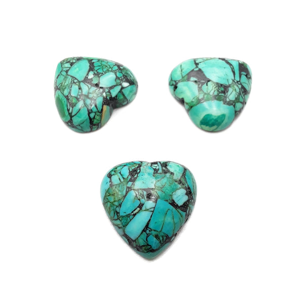 Blue Green Composite Turquoise Heart Shape Cabochon Size 25mm Sold by 4 PCS Set