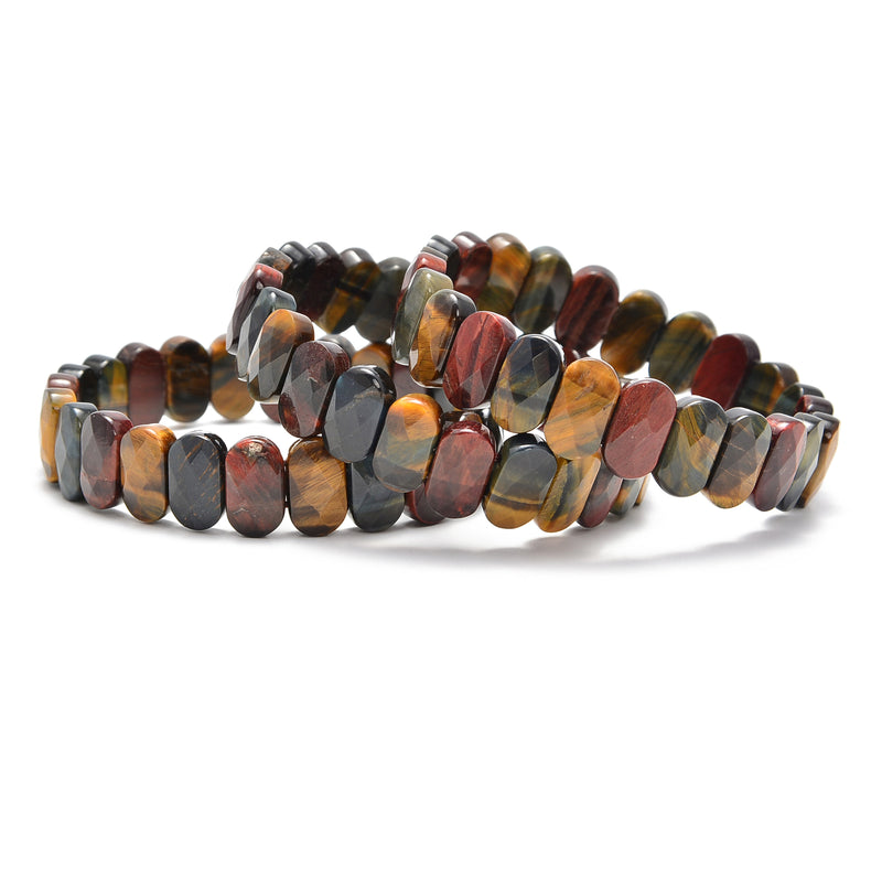 mix color tiger eye faceted oval bracelet bangle