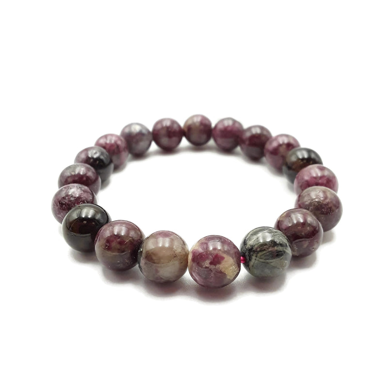 "Multi-Color Tourmaline Bracelet Smooth Round Size 10mm 7.5"" Length"