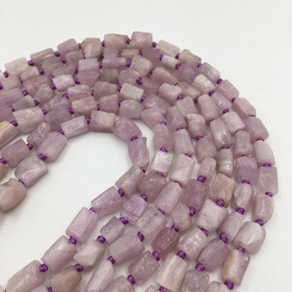 natural kunzite rough faceted cyinder tube beads