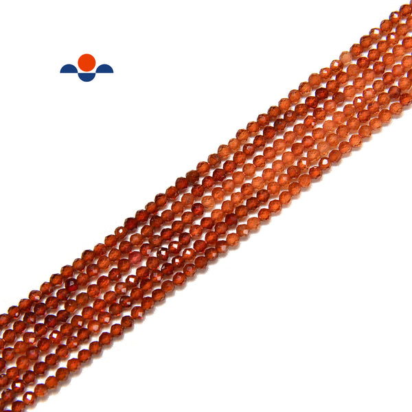 Natural Gradient Hessonite Orange Garnet Faceted Round Beads Size 2mm 15.5'' Str
