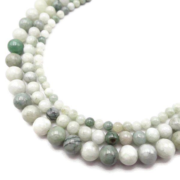 natural jade smooth round beads