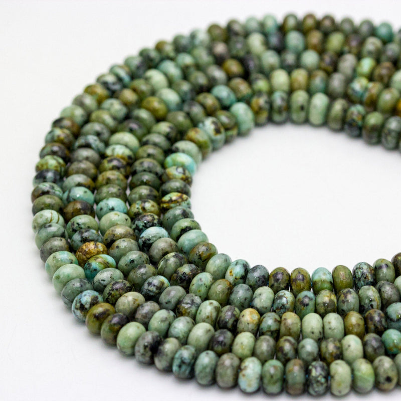 african turquoise smooth rondelle beads