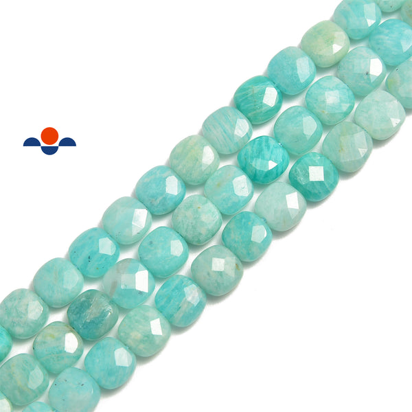 russia green amazonite faceted square beads