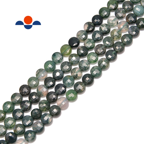 "Moss Agate Faceted Flat Coin Beads 6mm 15.5"" Strand"