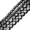 "Black Evil Eye Glass Coin Discs Beads 6mm 8mm 15.5"" Strand"