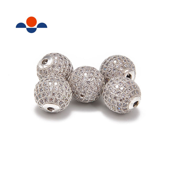 silver plated micro pave clear zircon ball