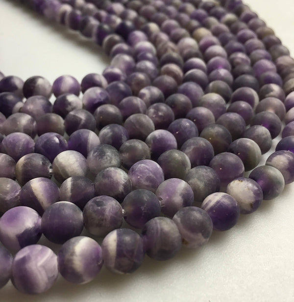 "2.0mm Hole Teeth Amethyst Matte Round Beads 6mm 8mm 10mm 15.5"" Strand"