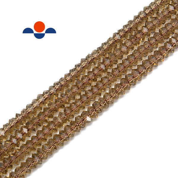 smoky brown k crystal glass faceted rondelle beads