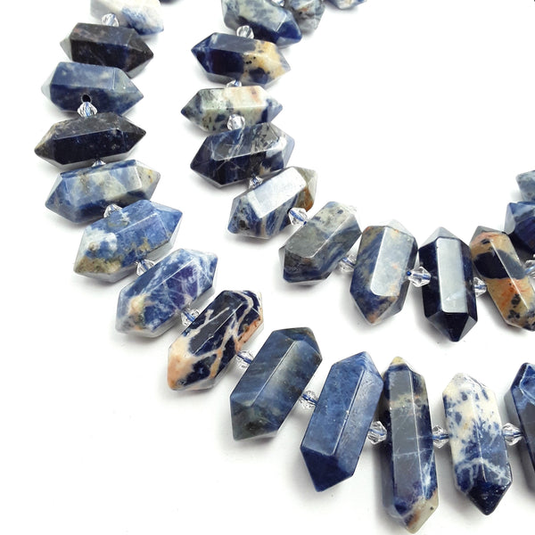 sodalite graduated center drill faceted points beads
