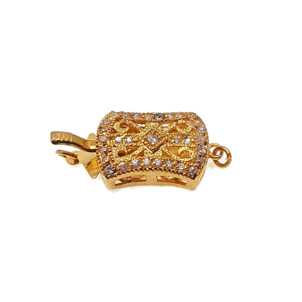 rectangle pinch clasp gold plated copper micro pave clear zircon