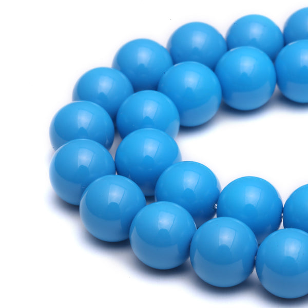 blue glass pearl smooth round beads