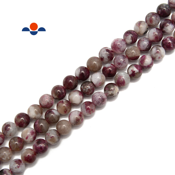 "Natural Eudialyte Smooth Round Beads Size 6mm 8mm 15.5"" Strand"