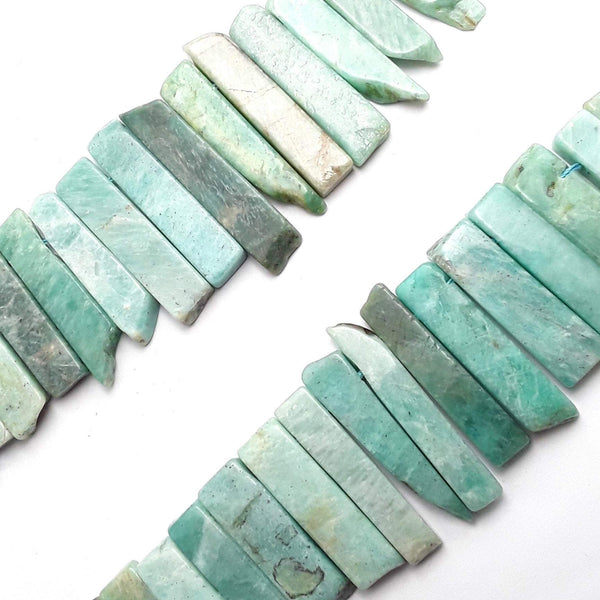 green amazonite graduated slice Sticks Points beads