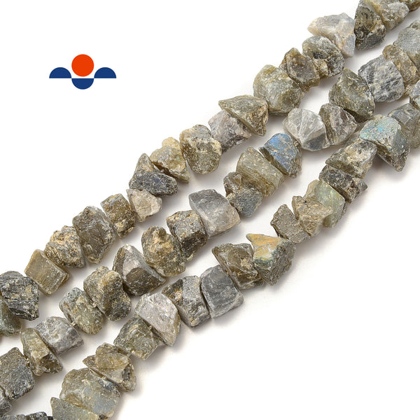 "Labradorite Rough Nugget Chunks Center Drill Beads Approx 8x14mm 15.5"" Strand"
