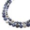 natural blue and white sodalite smooth round beads