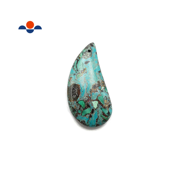 Chrysocolla Curved Drop Pendant Center/Side Drill 25x50mm Sold By Piece