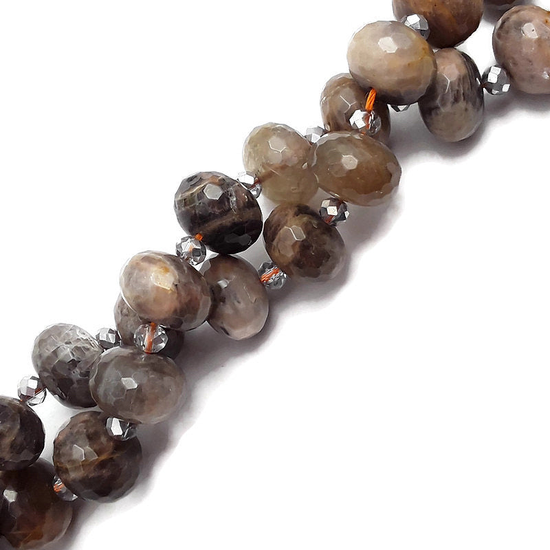 "Black Moonstone Large Size Faceted Rondelle Beads 13x18mm 15.5"" Strand"