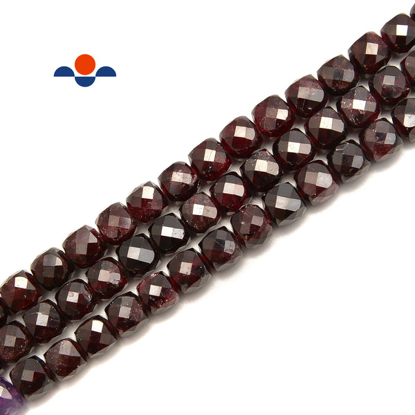 "Garnet Faceted Square Dice Cube Beads Size 7mm 15.5"" Strand"