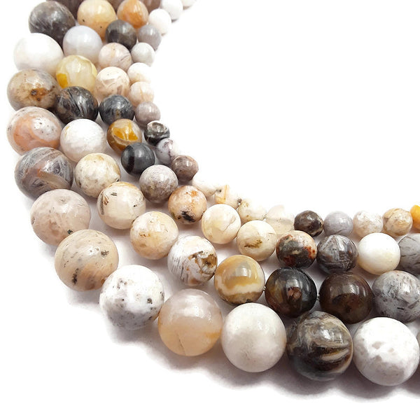 bamboo leaf agate smooth round beads