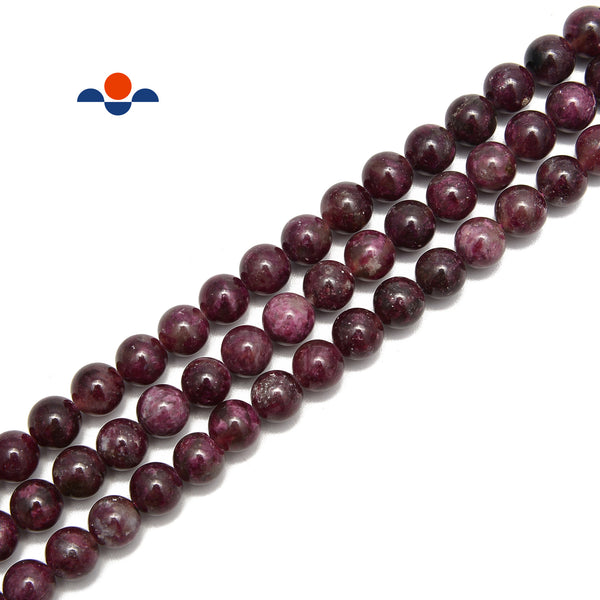 Natural Burgundy Tourmaline Smooth Round Beads Size 6mm 8mm 15.5'' Strand