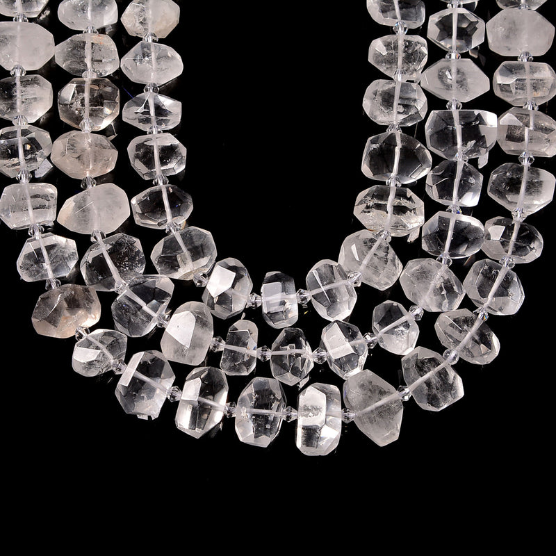 clear quartz faceted nugget chunk beads