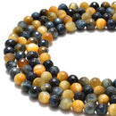golden blue tiger eye faceted round beads