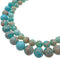 large hole light blue sea sediment jasper smooth round beads