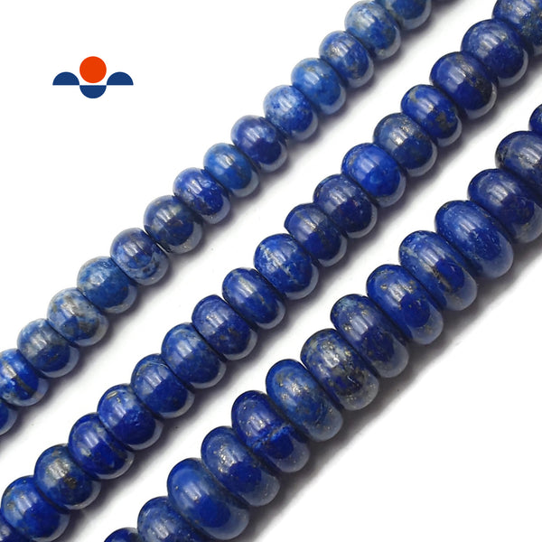 "Lapis Lazuli Irregular Smooth Rondelle Beads 6x9mm 6x10mm 6x12mm 15.5"" Strand"
