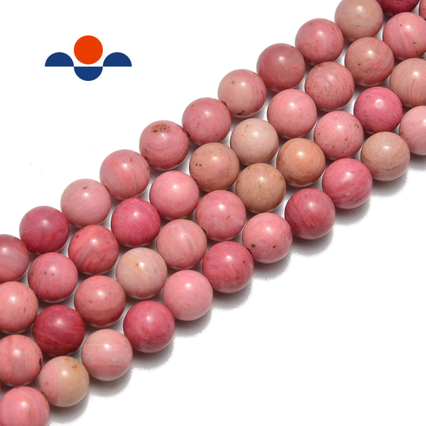 pink petrified rhodonite smooth round beads