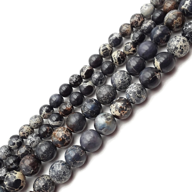 "Black Impression Jasper Smooth Round Beads 4mm 6mm 8mm 15.5"" Strand"