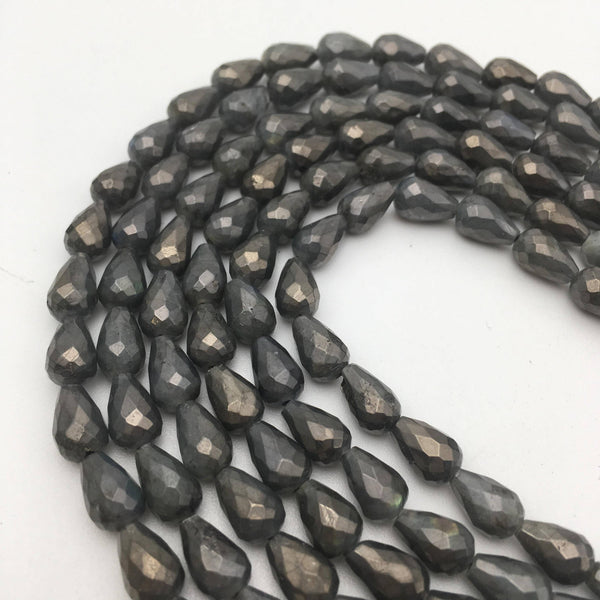 natural labradorite faceted teardrop beads
