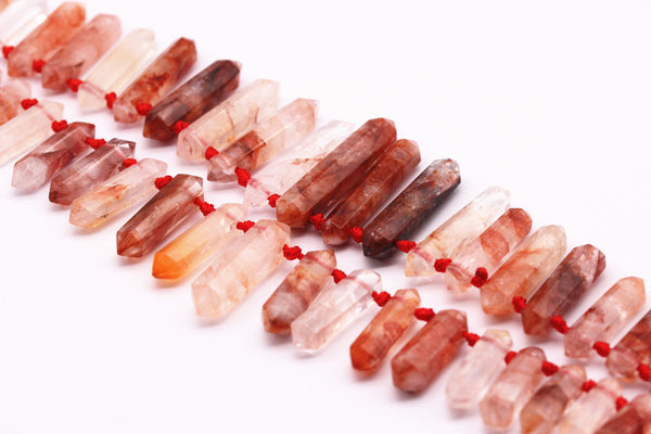 red amphibole quartz graduated top drill points beads