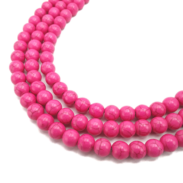 pink howlite turquoise smooth round beads