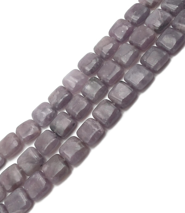 "Natural Purple Lepidolite Smooth Flat Square Beads Size 10x10mm 16"" Strand"