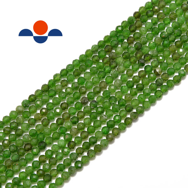 natural diopside faceted round beads