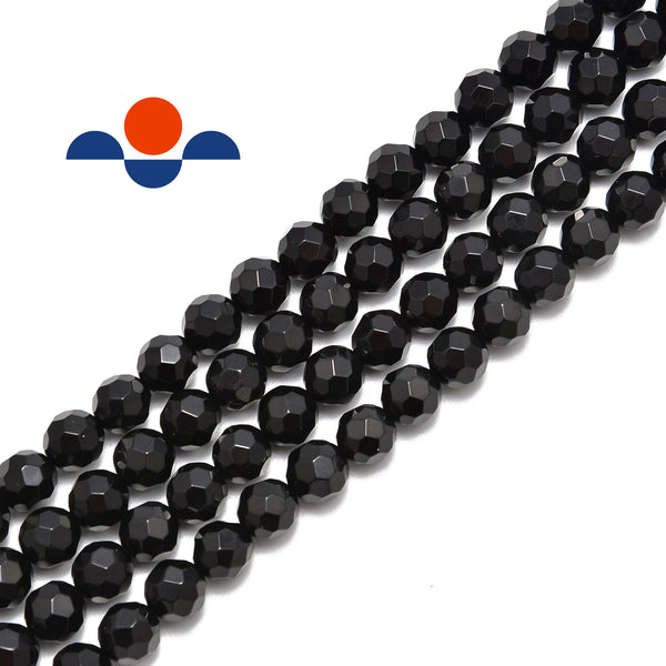 black onyx big faceted smooth round beads