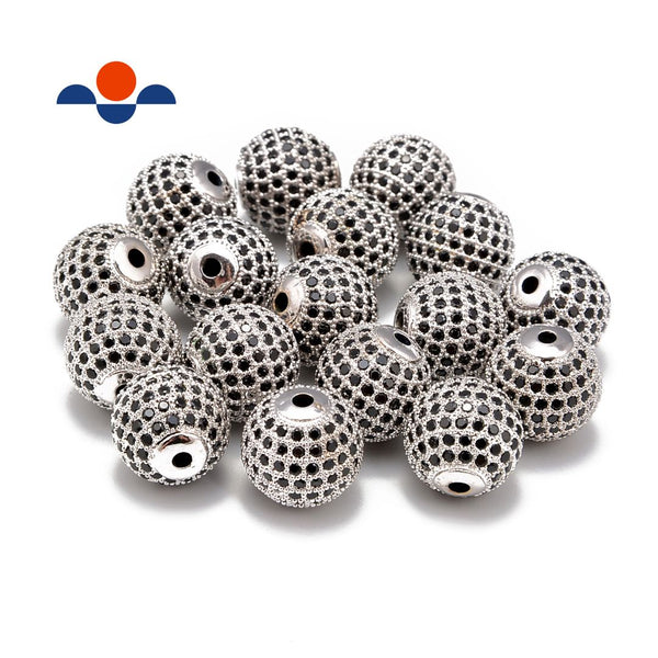silver plated micro pave black zircon ball charm