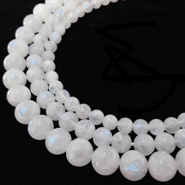 high quality white rainbow moonstone smooth round beads