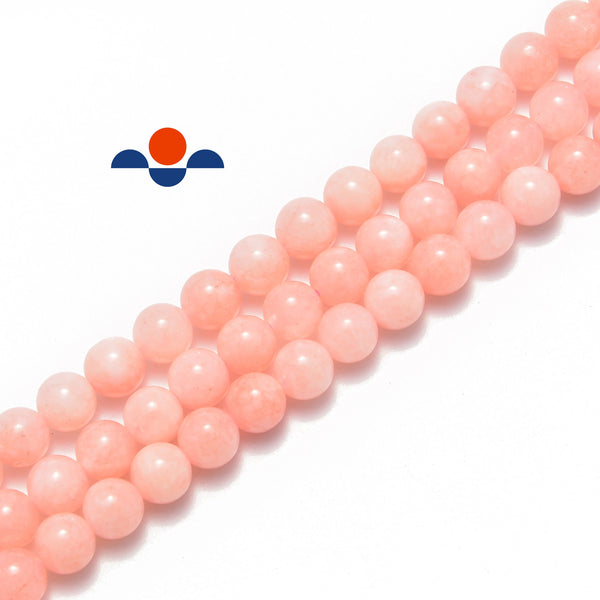 pink bubblegum dyed jade smooth round beads