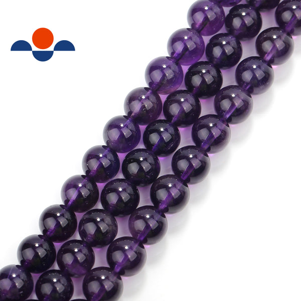 natural grade aaa amethyst smooth round beads