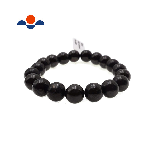 "High Carbon Shungite Bracelet Smooth Round Size 8mm 10mm 7.5"" Length"