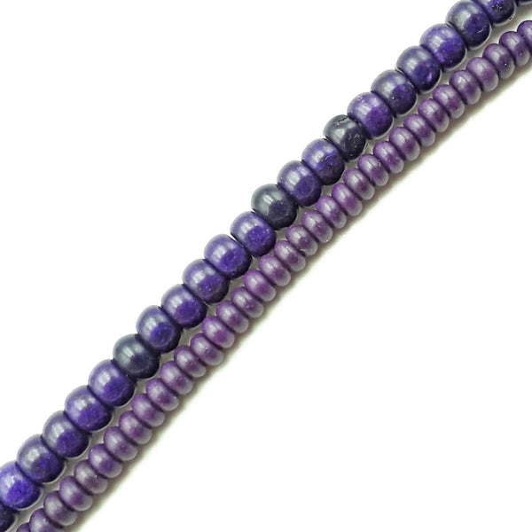 "Purple Howlite Turquoise Smooth Rondelle Beads Size 2x4mm 4x6mm 15.5"" Strand"