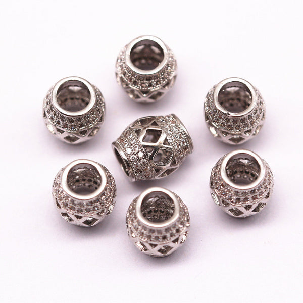 silver plated micro pave zircon cylinder shape charm