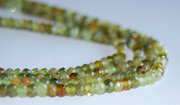 natural green garnet faceted rondelle beads